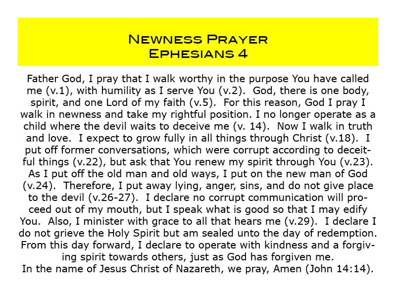 Newness prayer